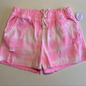 Pink and white tie dye shorts Justice kids &women